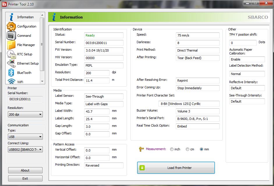 SBARCO Printer tool