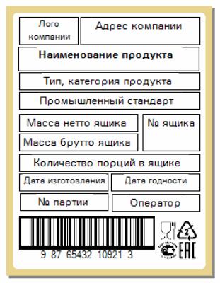 есовые комплексы печати этикеток Типовая этикетка на ящик