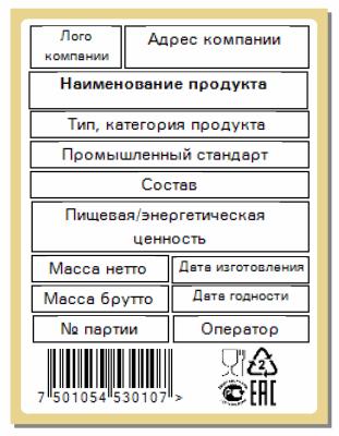 весовые комплексы печати этикеток Типовая этикетка на порцию
